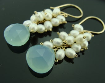 Aqua Blue Chalcedony and Freshwater Pearl 14K Gold Filled Cluster Earrings