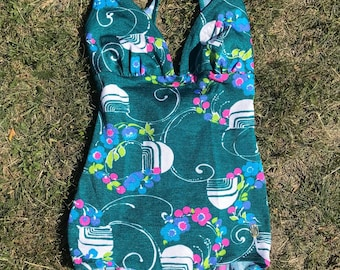 Vintage Swimsuit Triumph / Small - Medium / 1960's turquoise retro floral berries and graphic One Piece