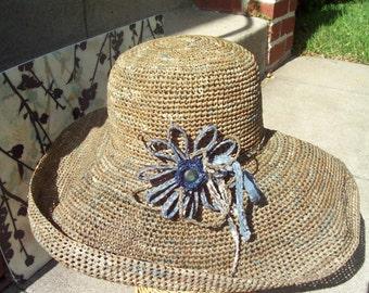 Putty Grey Crocheted  Wide Brim Hat with  Flower Corsage