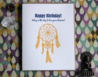 Dream Catcher Birthday Letterpress Card
