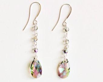 Crystal Tear Crop Dangle Earrings | Swarovski AB Faceted Crystals