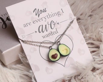 Avocado Friendship Necklace Or Keychains- Avocado Necklace, Mothersday Gift, Friendship Jewelry, Personalized Gift, Girlfriend Gift