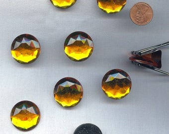 12 Vintage Topaz Acrylic 25mm. Round Faceted Cabochons 3404
