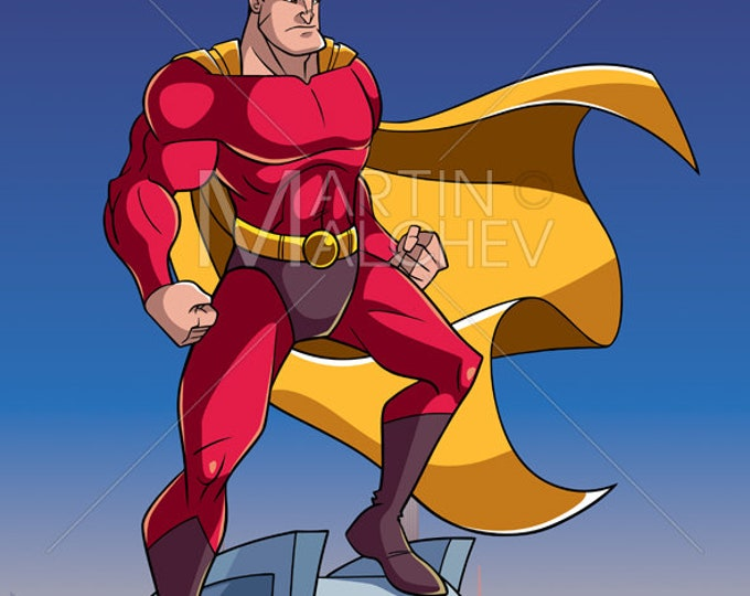 Superhero Watching City from Roof - Vector Cartoon Illustration. super, hero, man, serious, angry, determined, brave, cityscape, background