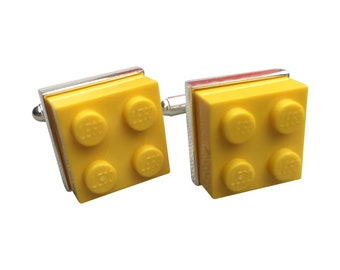 Cufflinks made using Yellow Lego Brick with Free Cuff Link Box and Free Shipping