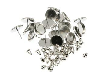 12mm Stainless Steel Earring Tray Settings, Earring Backs INCLUDED