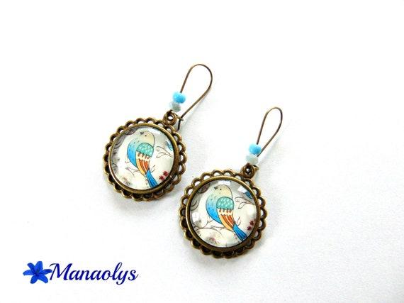Earrings sleepers bronze vintage Blue Bird glass cabochons