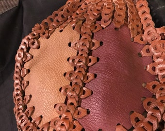 Vintage Purse Leather Patchwork 1960's Hippie Boho Fashion Retro Handbags