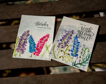 Hand Painted, Custom Designed Floral Thank You Cards. Set of 2