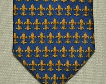 Mens neckties silk tie Fleur de LIS neck tie NOLA Saints French Roger L Fathers Day gift for Dad blue silk business tie