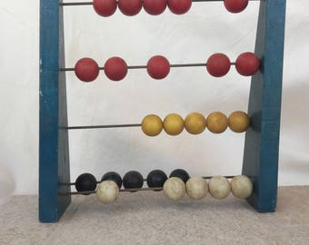 Vintage abacus wooden  educational for children calculate and toy