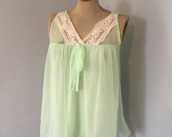 Vintage Mint Green 1960s Chiffon Nightie Top Baby doll Nightgown