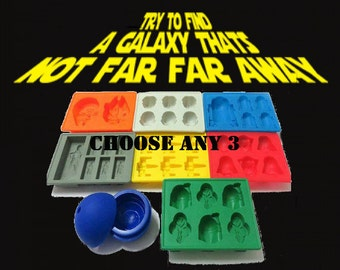 3PC Star Wars Mold - DIY Edible Star Wars Baking Tray jello chocolate candy ice crayon soap tray Star Wars Party Silicone Mold