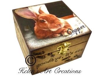 Rabbit Memorial, Small Pet Urn, Pet Memorial Keepsake Box, Bunny Memorial, Rabbit Urn, Personalized Keepsake Box, Custom Pet Keepsake Box