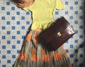 Vintage Japanese high waist pleated plaid layering skirt