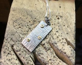 Cross weave rain textured pendant in Sterling silver, 18k yellow gold and CZ by Cristina Hurley