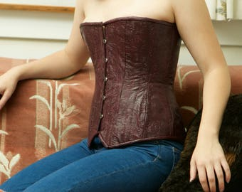 Faux Embossed Leather Corset