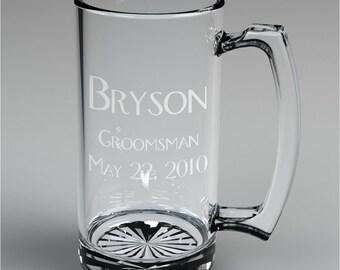 8 Personalized Groomsman Beer Mugs Custom Engraved Wedding Gift.