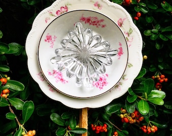Amelie • Glass Garden Flower • Yard Art • Repurposed Pink Limoges Vintage China Decor • Shabby Chic • Upcycled