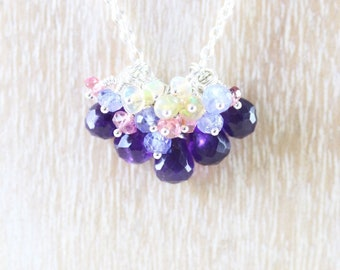 Amethyst & Sterling Silver Multi Gemstone Cluster Necklace. Tanzanite, Pink Tourmaline, Ethiopian Welo Opal Beaded Pendant. Womans Jewelry