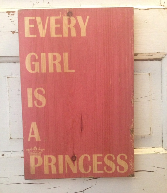 Every Girl Is A Princess, Typography Art On Wood, Pink Girl's Room Decor, Pink Art For Girls, Princess Nursery Sign, Baby Girl Decor