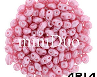 PASTEL PINK: MiniDuo Two-Hole Czech Glass Seed Beads, 2x4mm (10 grams)