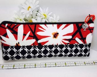 Fancy Pencil Case, Back to School, Mod Flower Pencil Pouch, Long Zipper Pouch