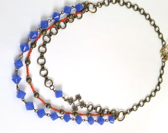 Beauty Gift 3 Strand Cobalt Blue & Orange Beaded Necklace With Antique Gold/ Brass Accents - One of a Kind