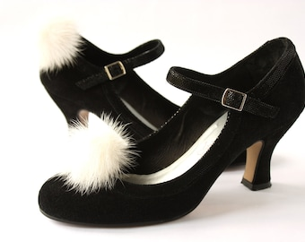 Shoe Clips White Mink Fur Pompon
