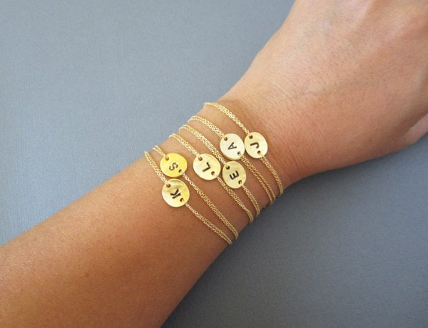 Personalized bridesmaid bracelet initial bracelet gold coin zoom mozeypictures Image collections