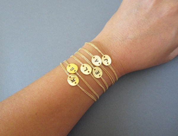 Personalized bridesmaid bracelet initial bracelet gold coin zoom mozeypictures Images