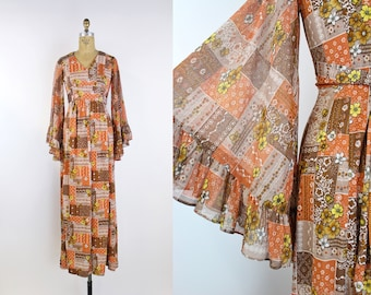 70s Bell Sleeves Brown Orange Maxi Dress / Boho Maxi Dress / Angel sleeves Dress / Bohemian Maxi dress / Patchwork / Daisy Dress / Size XS/S