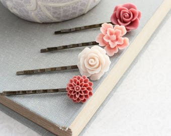 Rose Bobby Pins Flowers For Hair Floral Hair Accessories Light Peach Dusty Rose Pink Girls Hair Clips Vintage Style Gift for Her Under 25