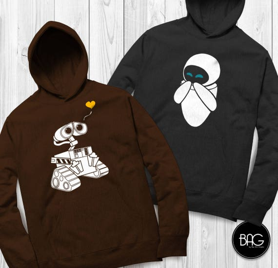 Wall-e and Eve Shirts Disney Couples Hoodies Wall-e Custom Matching hoodies Couple T-shirts vacation shirts ( Sold Separately ) GC0fMfUuao