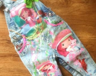strawberry shortcake custom denim overalls