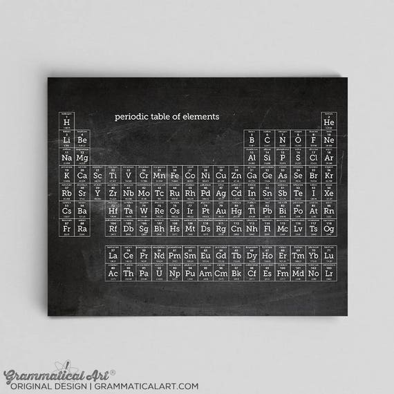 Chalkboard periodic table of elements poster science gift like this item urtaz Image collections
