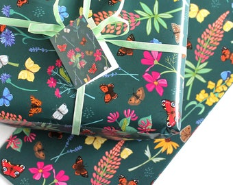 Gift Wrap with Tag - Single Sheet of Gift Wrapping - Butterfly Gift Wrap - Wrapping Paper - Gift Wrap Paper - Scrapbook Paper