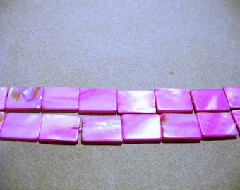 Mother of Pearl  Beads Pink Rectangular 20x16MM