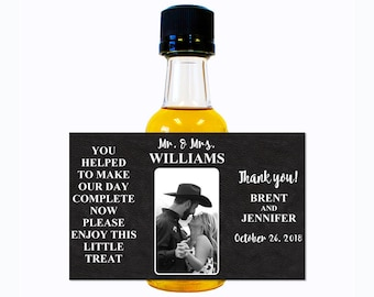 Custom Liquor Mini Bottle Labels - Wedding Favors Engagement Party Reception Bridal Shower Rehearsal Dinner - Personalize with Custom Text
