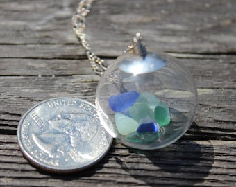 Authentic Sea Glass Necklace Hand Blown Glass Hollow Bead with Blue Sea Glass and Pottery