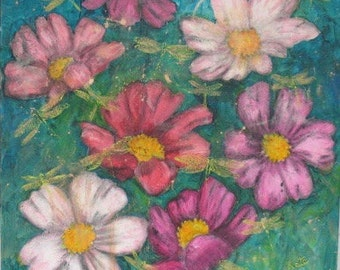 Original Painting - Cosmos and Dragonflies -  by Kate Ladd 20 x 20 inches
