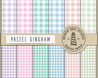 SPRING PICNIC | Pastel Gingham Paper | Scrapbook Paper | Printable Backgrounds | Digital Paper Pack | 12 JPG, 300dpi Files | BUY5FOR8