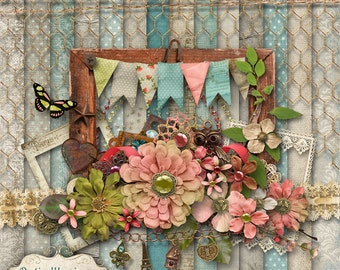 Vintage Charm - Digital Scrapbooking Kit - 14 Beautiful Papers and over 50 + Elements - 4.75