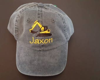 Personalized Toddler Baseball Cap Toddler Excavator Baseball Cap Toddler Kids Custom Embroidered Baseball Hat Kids Construction Theme Hat