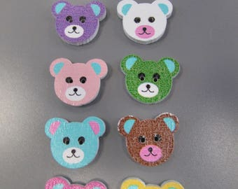 Teddy Bear Wooden Buttons X 4