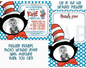 Dr. Seuss Cat In The Hat Birthday Invite/Thank You Card Package - Custom With Photo