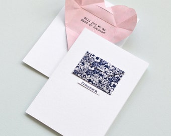 Personalised maid of honour card with secret message origami heart