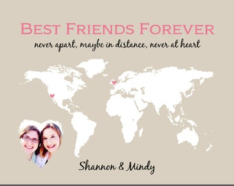 Add a Photo Gift for Best Friend Birthday Gift, Personalized Photo Gift for Best Friends Forever,  Long Distance 8x10 with Picture Print BFF