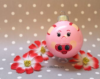 Pig Christmas Ornament READY TO SHIP Glass Bauble Hand Painted Farm Animal Pink Pig Art Pig Decor Pig Painting Animal Lover