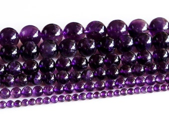 Wholesale Natural AAA Grade Dark Purple Amethyst Round Loose Beads Jewelry Sets Beads 4mm 6mm 8mm 10mm 12mm 14mm 02891